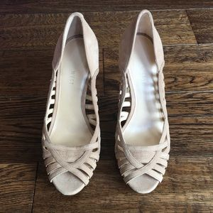 Nine West nude platform heels